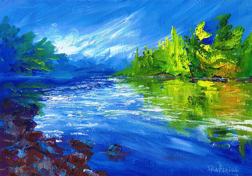 Blue River Painting Ekaterina Chernova