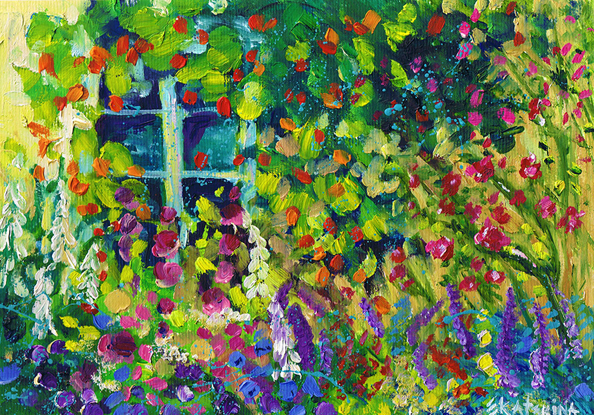 Cottage Garden Painting Ekaterina Chernova