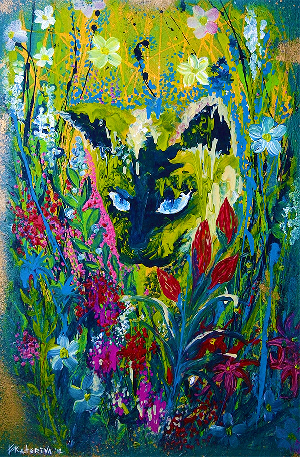 Garden Hunter Cat Painting Ekaterina Chernova