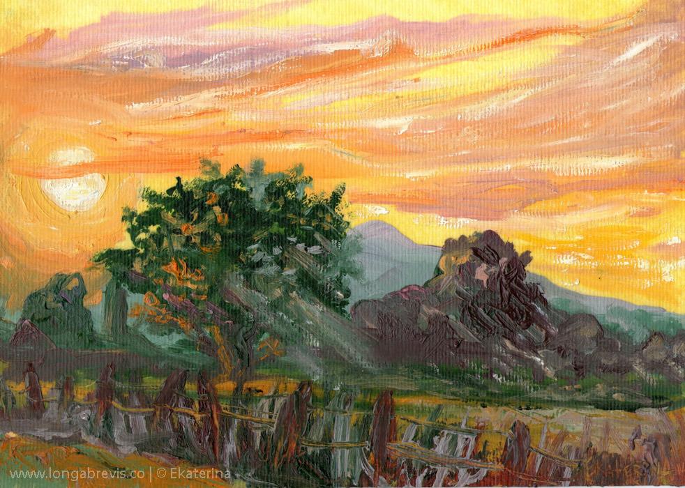 New Zealand landscape painting Cambridge sunset