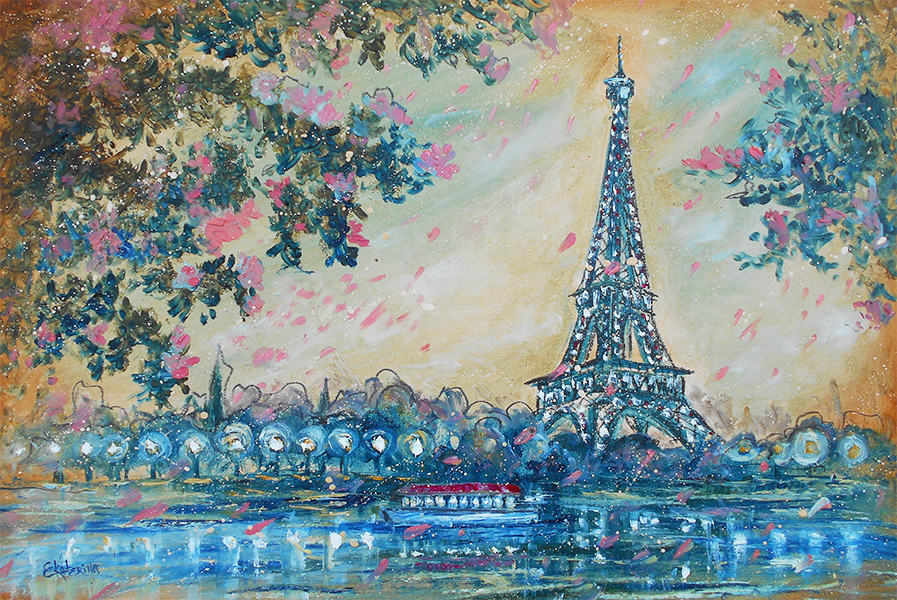 Paris painting eifel tower 2 original oil impressionist abstract modern contemporary art Ekaterina Chernova