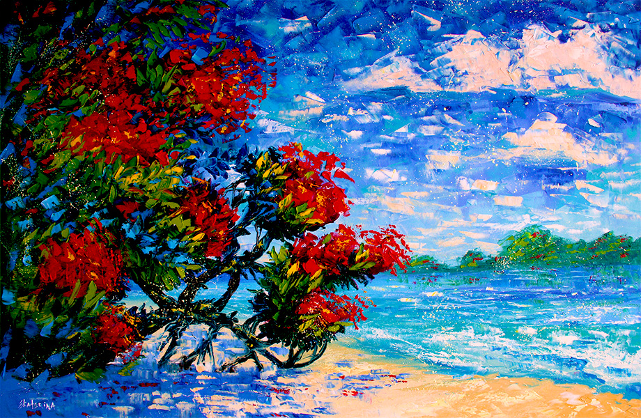Pohutukawa New Zealand Beach Painting Ekaterina Chernova