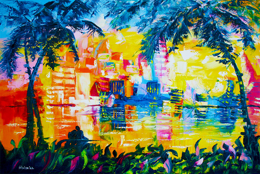 cityscape palm tree painting Ekaterina Chernova