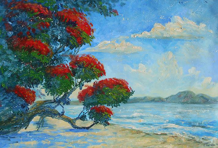 pohutukawa art oil painting new zealand