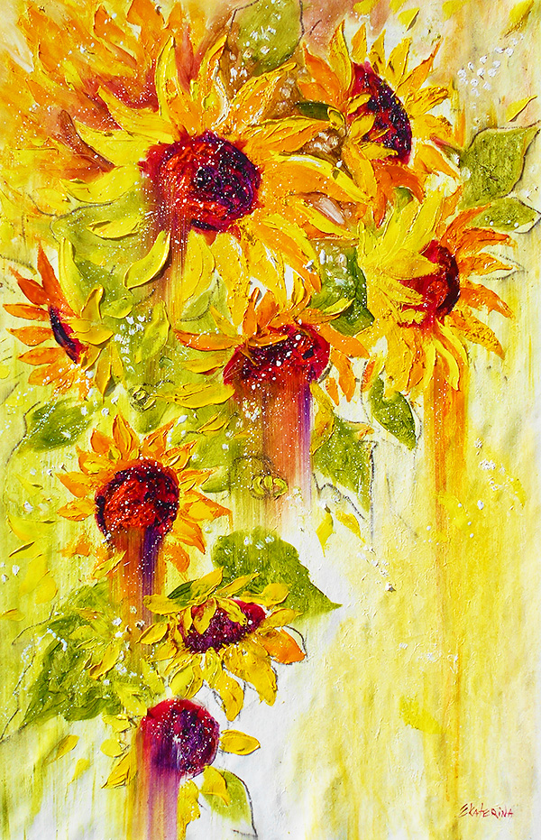 sunflower painting large contemporary art